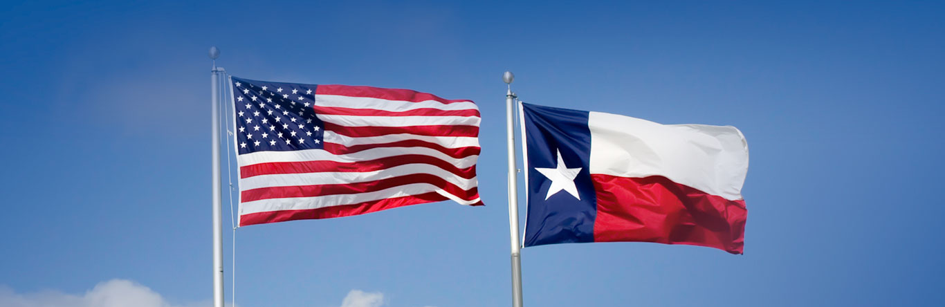 U.S. and Texas flags